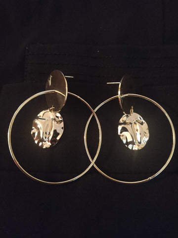 Gold Circular Hoop Earrings