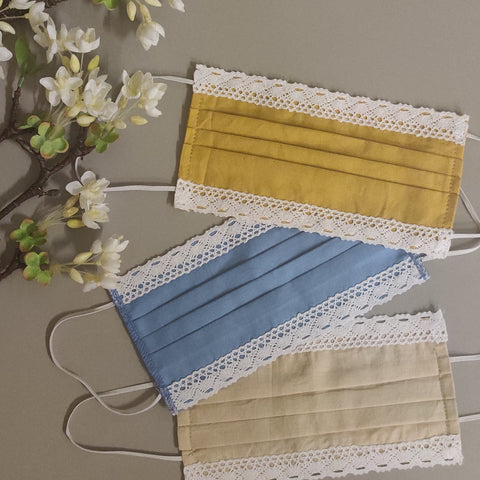 Set of 3 cotton masks with lace
