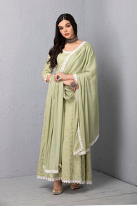 Mint Chain Stitch Gown and Dupatta Set