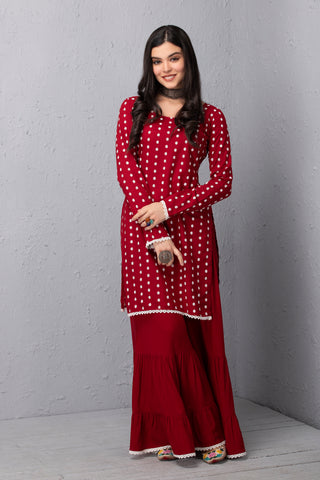 Cherry and White Embroidered Kurta and Garara Set