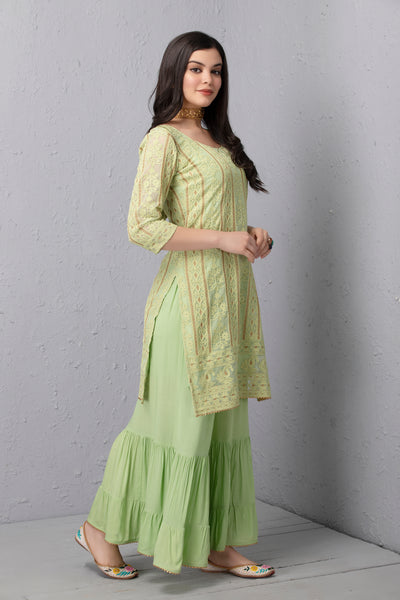 Lime and Gold Embroidered Kurta Set