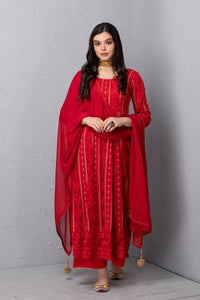 Red Chikankari Kurta Set with Dupatta