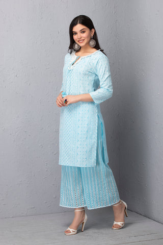 Seashell Embroidered Kurta and palazzo Set