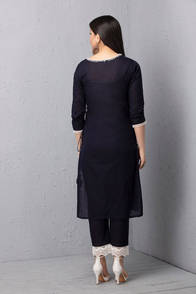 Navy Embroidered Mul Kurta Set with Dupatta