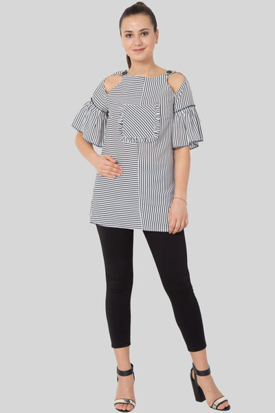 Striped Keyhole Frill Neck Blouse-sewandyou.com