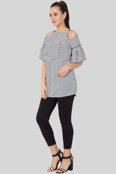 Women Striped Keyhole Frill Neck Blouse TOP- Sewandyou.com
