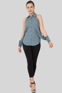 Grey Color Sleeveless Shirt For Women-Sewandyou