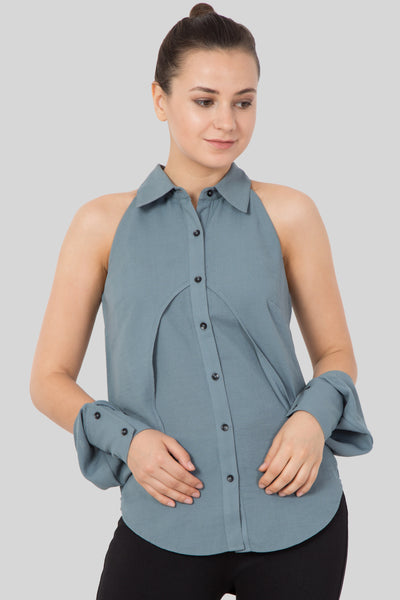 Grey Color Sleeveless Shirt For Girls-Sewandyou
