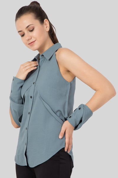 Grey Color Sleeveless Shirt - Women's Favorite -Sewandyou