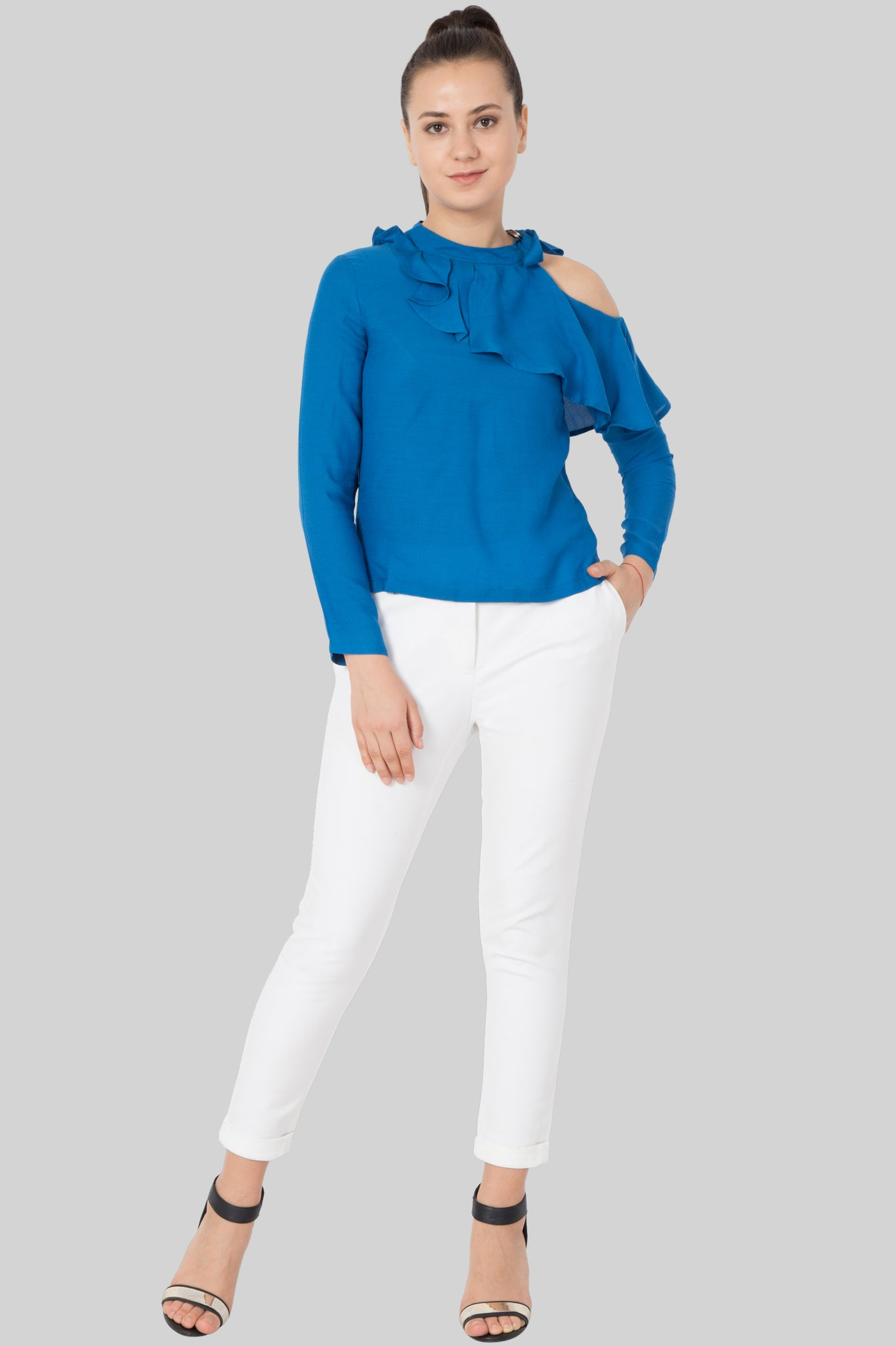 Ocean Blue Cold Shoulder Top - sewandyou.com