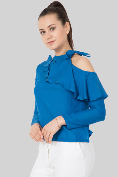 One Shoulder Ocean Blue Top For Girls- sewandyou.com