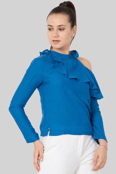 One Shoulder Ocean Blue Top For Women - sewandyou.com