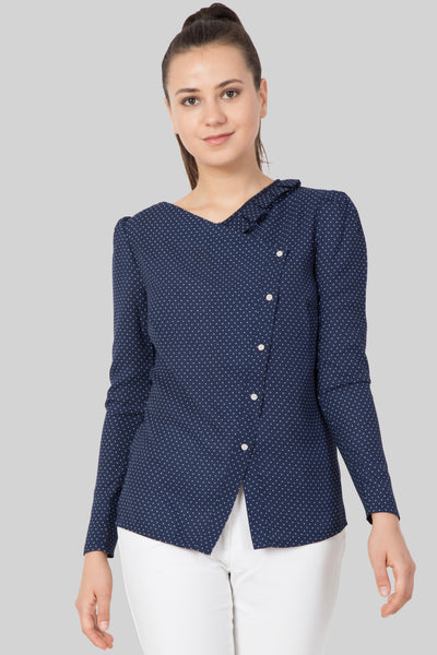 Polka Dot Slant Button Top For Women - sewandyou.com
