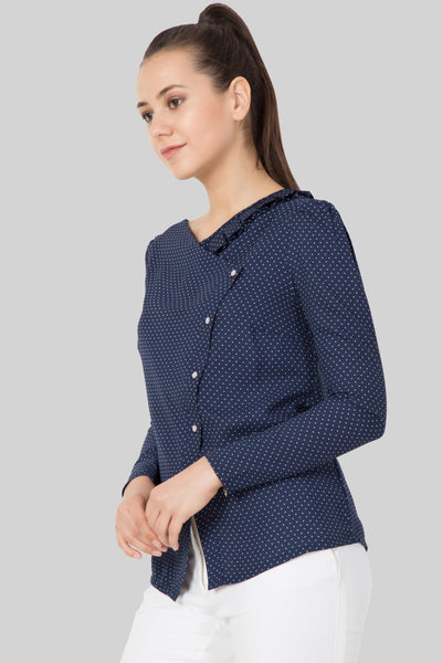 Navy Blue Polka Dot Slant Button Top - sewandyou.com