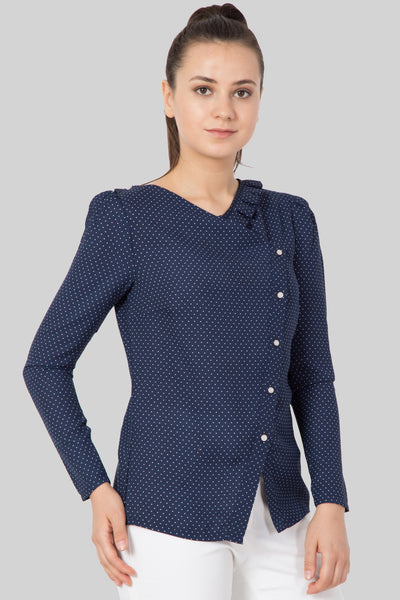 Polka Dot Slant Button Top For Girls - sewandyou.com