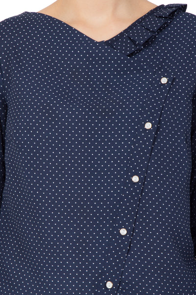 Polka Dot Slant Button Top - sewandyou.com
