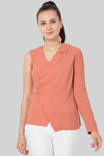 Pink Half Blazer Top For Girls- Sewandyou.com