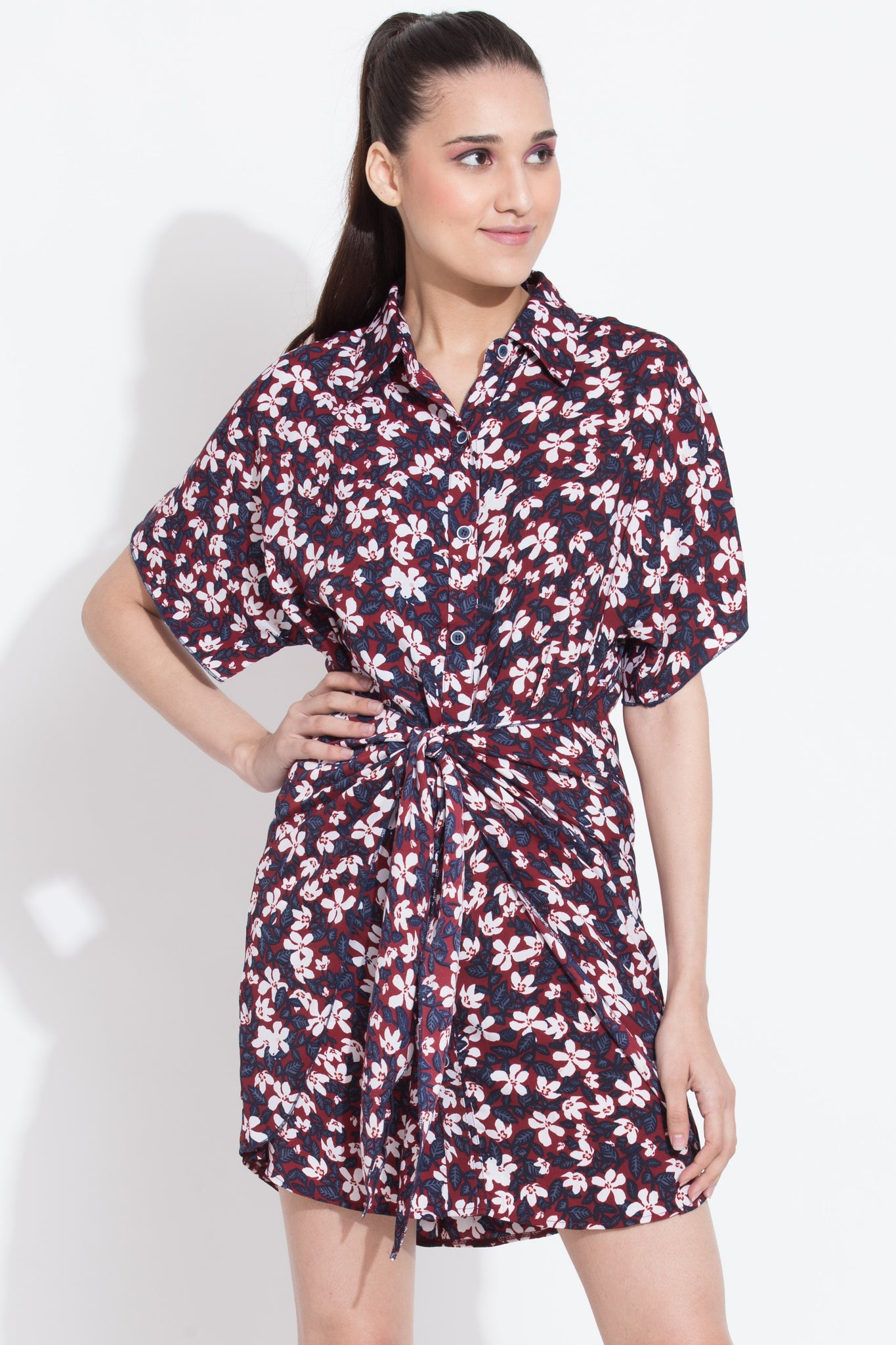 Berry Front Tie Shirt Dress