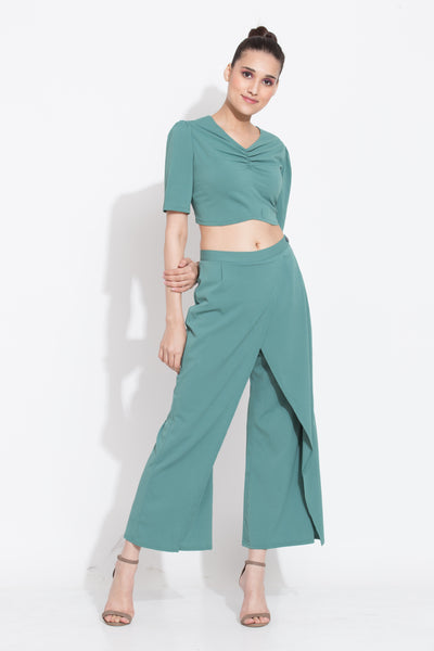 Fern Crop Top and Overlap Culottes Co ord Set