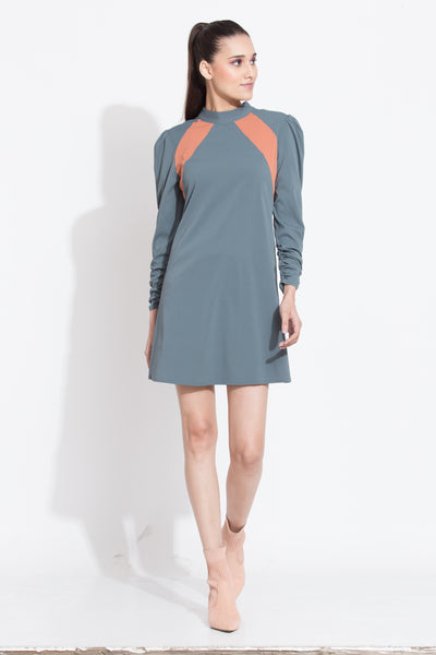 Grey Panelled Yoke Short Dress