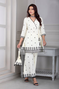 Cream and Black Embroidered Kurta Set