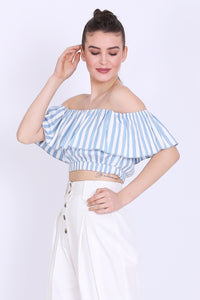 Sea Blue and White Stripes Crop Top - sewandyou.com