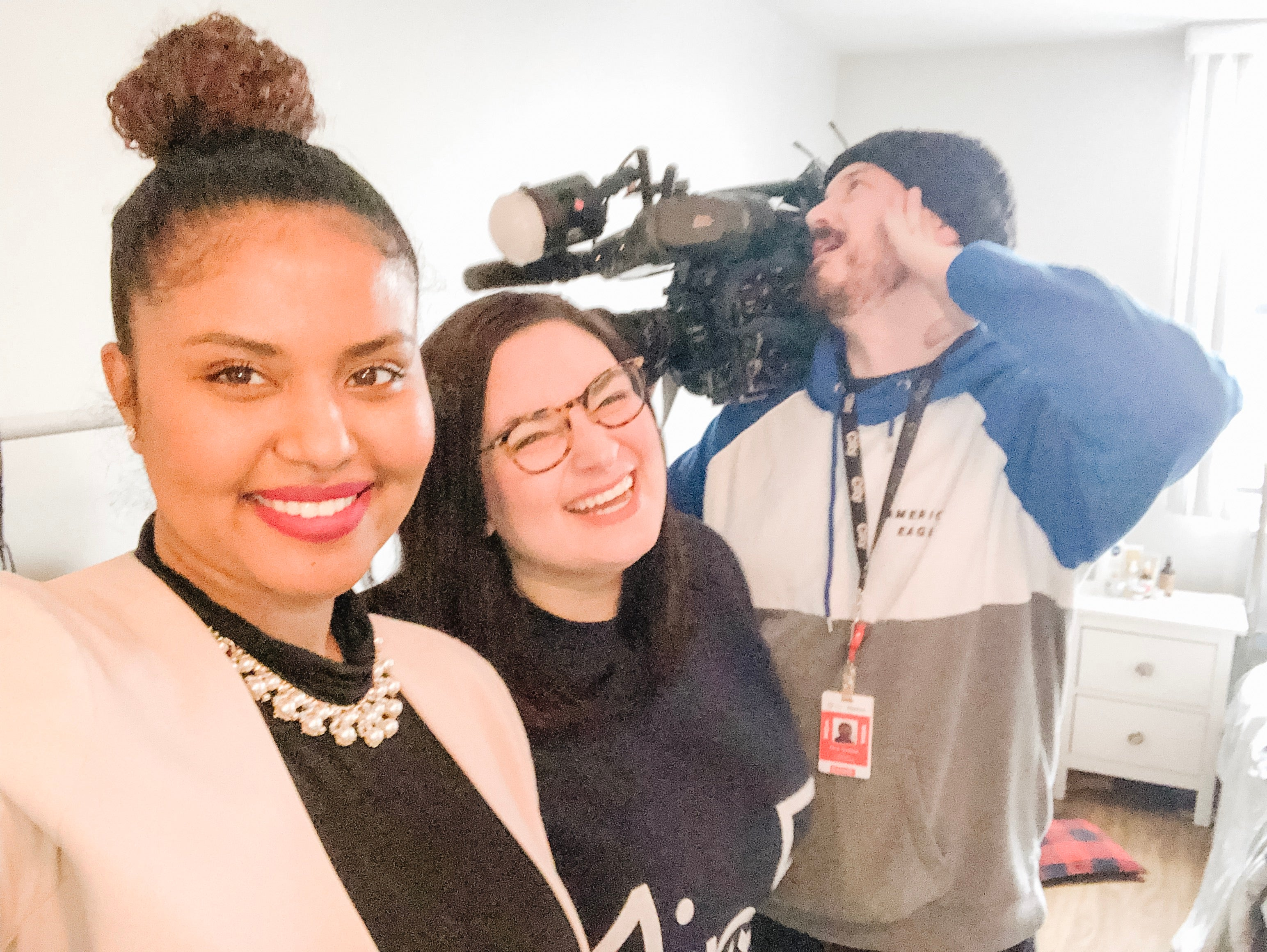 CityNew's Faiza Amin with One in Five CEO Megan te Boekhorst and CityNews camera man