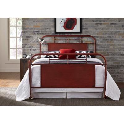 Vintage Queen Metal Bed - Red