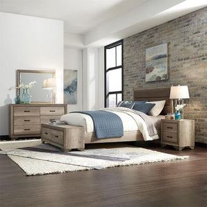 Sun Valley Bedroom Set with Queen Storage Bed, Dresser and Mirror, Nightstand