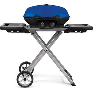 TravelQ 285X Portable Propane Gas Grill with Scissor Cart - Blue