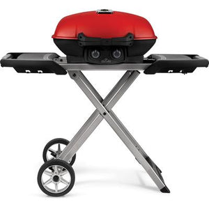 TravelQ 285X Portable Propane Gas Grill and Scissor Cart with Griddle - Red