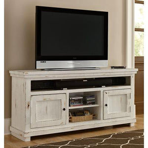 "Willow 64"" Entertainment Center - Distressed White"