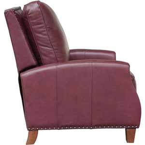 Melrose Recliner in Leather - Shoreham Wine