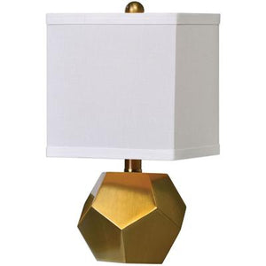 Pentagon Cubes Brushed Brass Lamps - Set of 2
