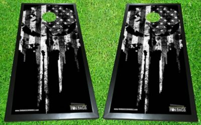 Punisher Flag Cornhole Boards - Black/White