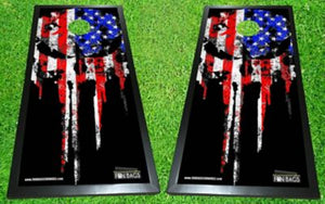 Punisher Flag Cornhole Boards - Color