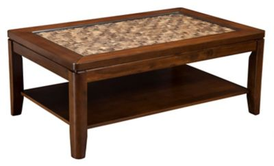 Granada Coffee Table with Glass Insert and Shelf