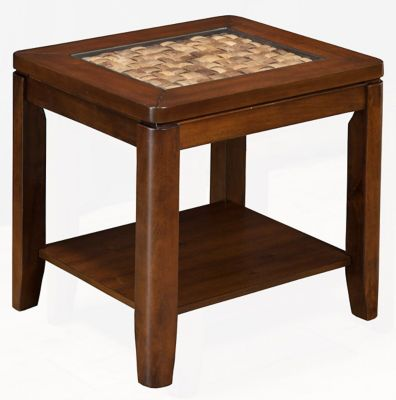 Granada End Table with Glass Insert and Shelf