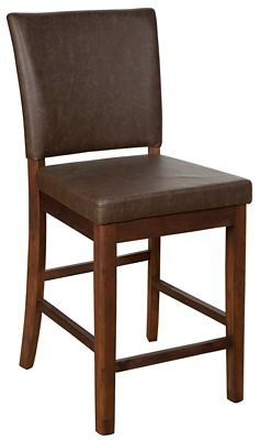 Caldwell Barstool with Brown Faux Leather Seat and Back - Set of 2