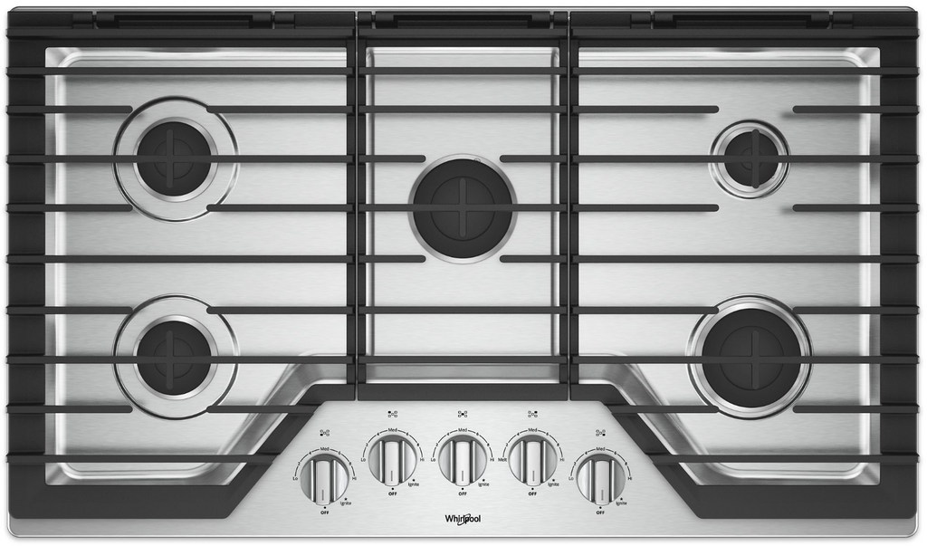 "Whirlpool 36"" Gas Cooktop with EZ-Lift Hinged Grates"