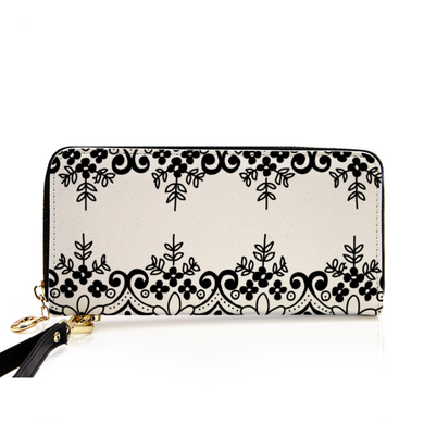 Dual Lace Women's Leather Wallet/Long Clutch Purse - Artski&Hush