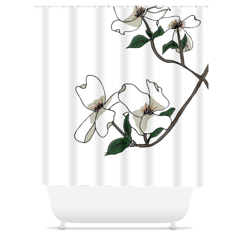 Almond Blooms Shower Curtain