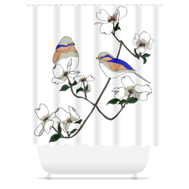 Birds & Blooms Shower Curtain - Artski&Hush