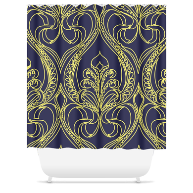 Art Deco Navy Lily Shower Curtain - Artski&Hush