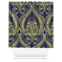 Art Deco Navy Lily Shower Curtain