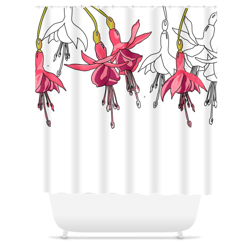 Fuchsias Shower Curtain - Artski&Hush