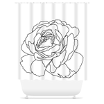 White Open Rose Shower Curtain