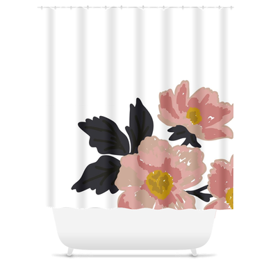 White Flora Shower Curtain - Artski&Hush