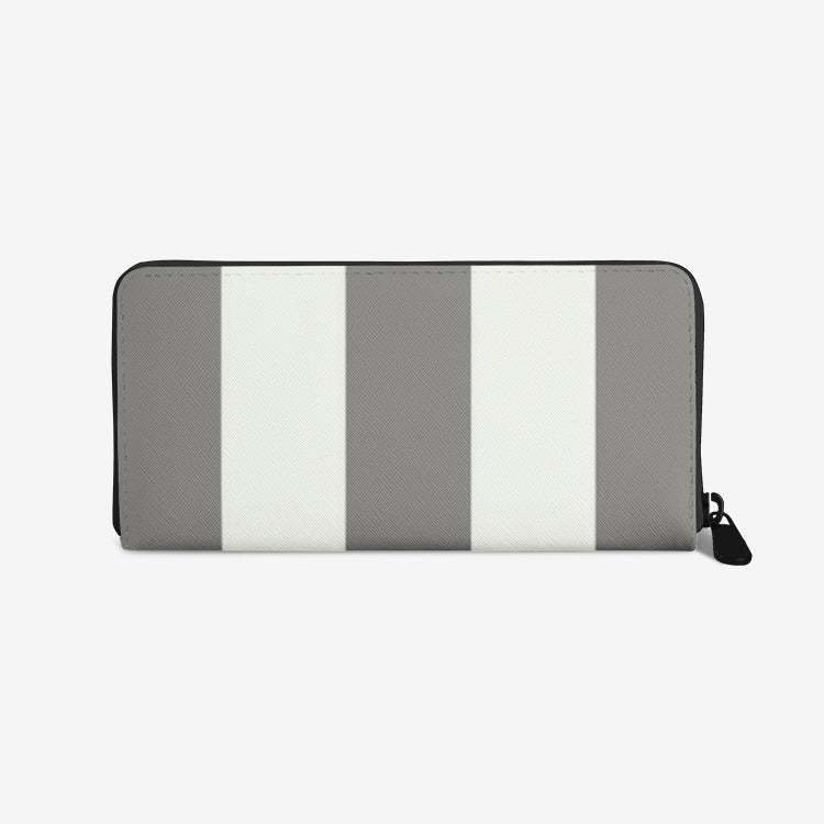 Grey Stripes Leather Wallet - Artski&Hush