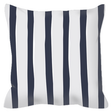 Load image into Gallery viewer, Navy Ticking Decorative Outdoor Pillows - Artski&Hush
